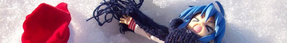 figma scarf christmas star snow christmas_hat blue_scarf konata izumi max_factory lucky winter izumi_konata lucky☆star xmas merry_christmas santa_hat asai_(apsy)_masaki