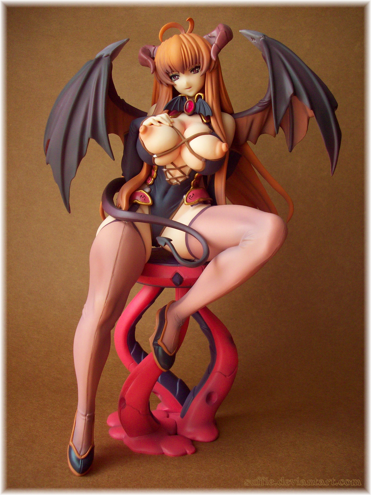 wings tail succubus large_breasts horns nipples devil_tail mogudan sexy exposed_breasts sexy_pose seed demon_wings comic unreal sylvia orchid_seed breast yamachichi succubus_sylvia exposed_nipples