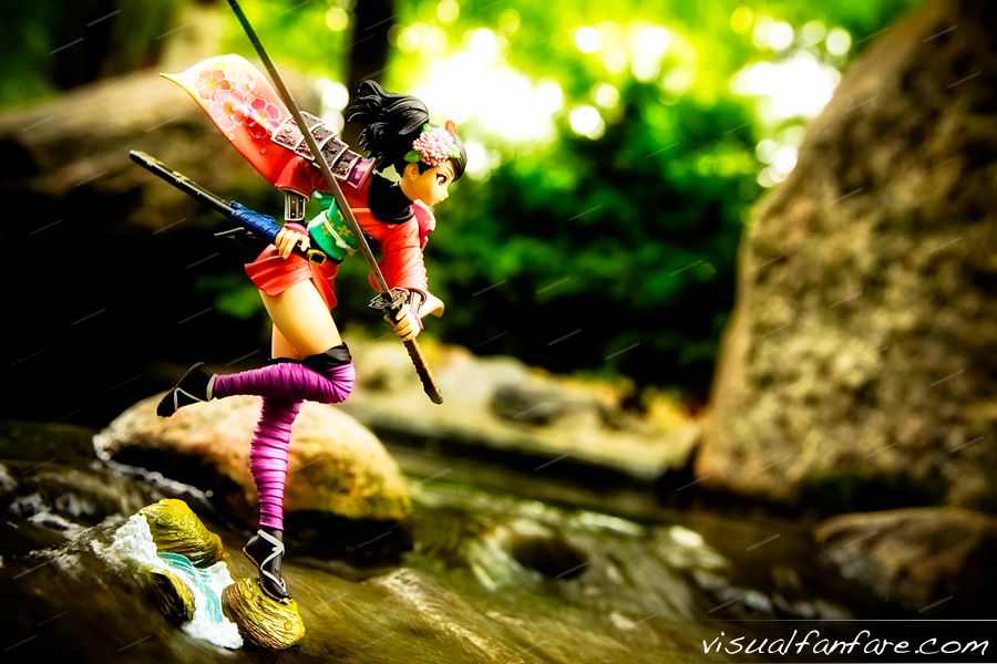 brown_eyes ronin kimono katana thighhighs water armour female brown_hair sword game_character flower_in_hair muramasa momohime demon_blade