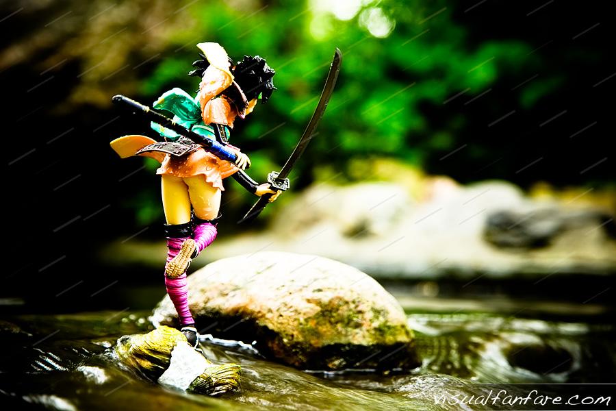 brown_eyes ronin kimono katana thighhighs water armour female brown_hair sword game_character flower_in_hair alter muramasa momohime demon_blade