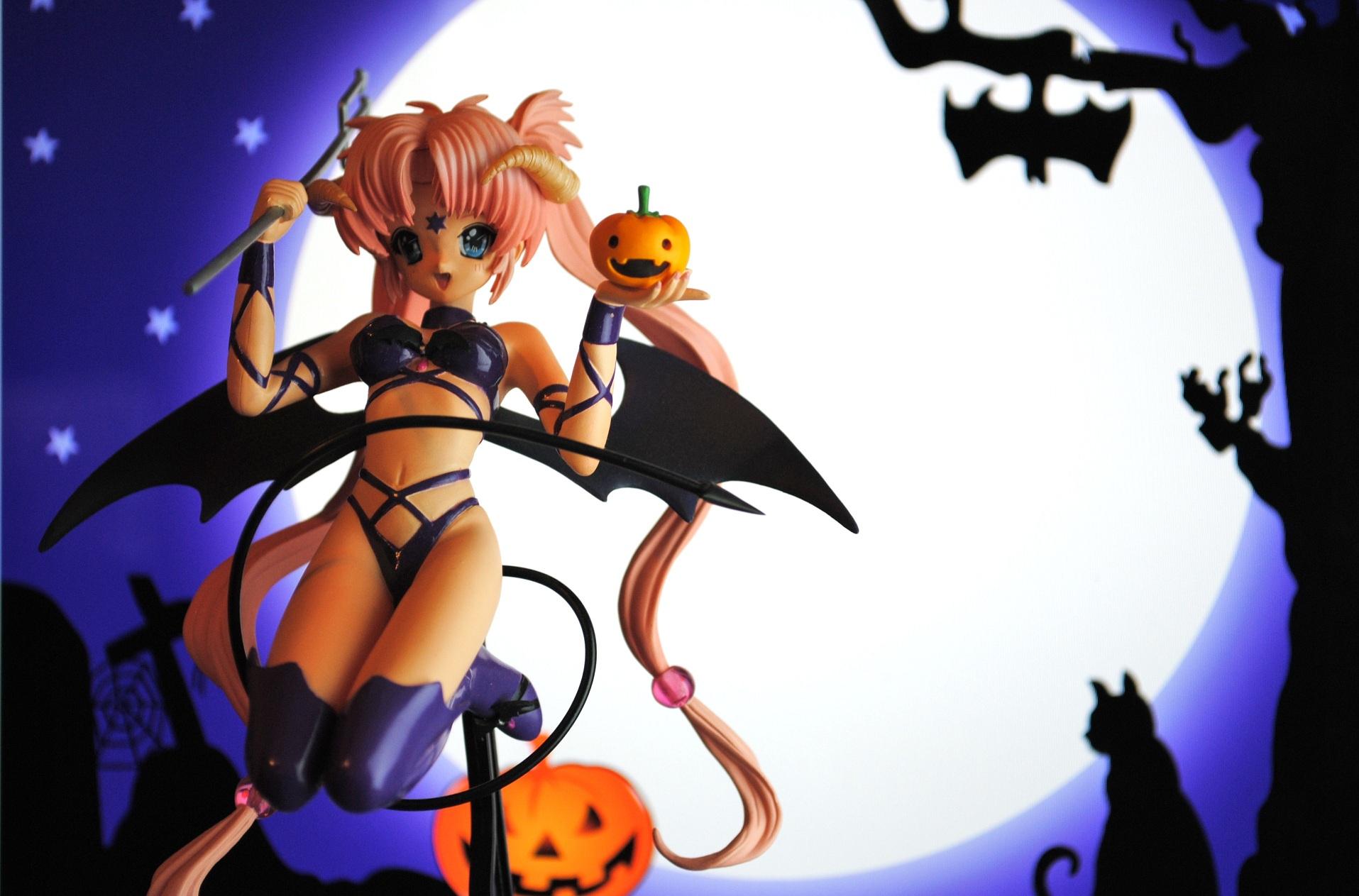 pumpkin halloween devil moon night