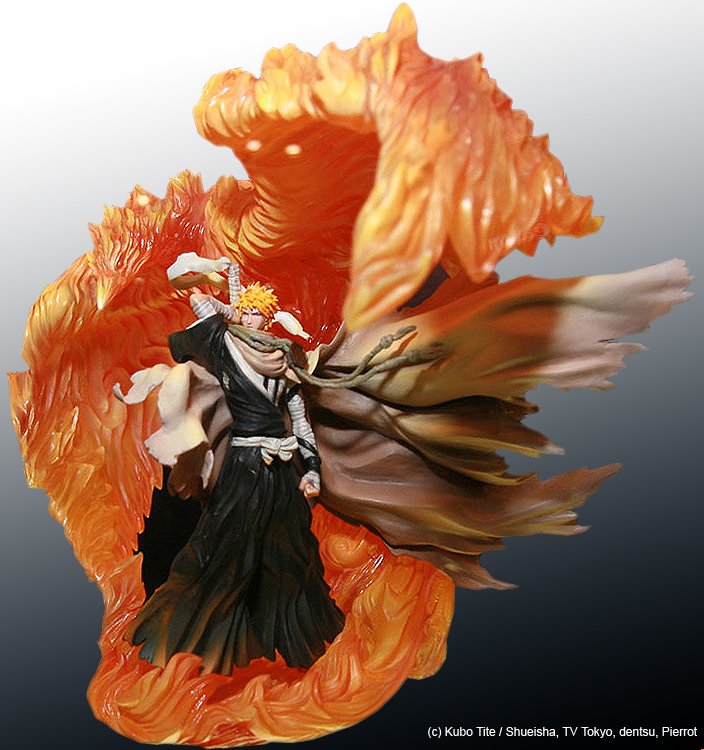 blond_hair fire flames hakama phoenix japanese_clothes sword male mantle bleach sculpture_arts