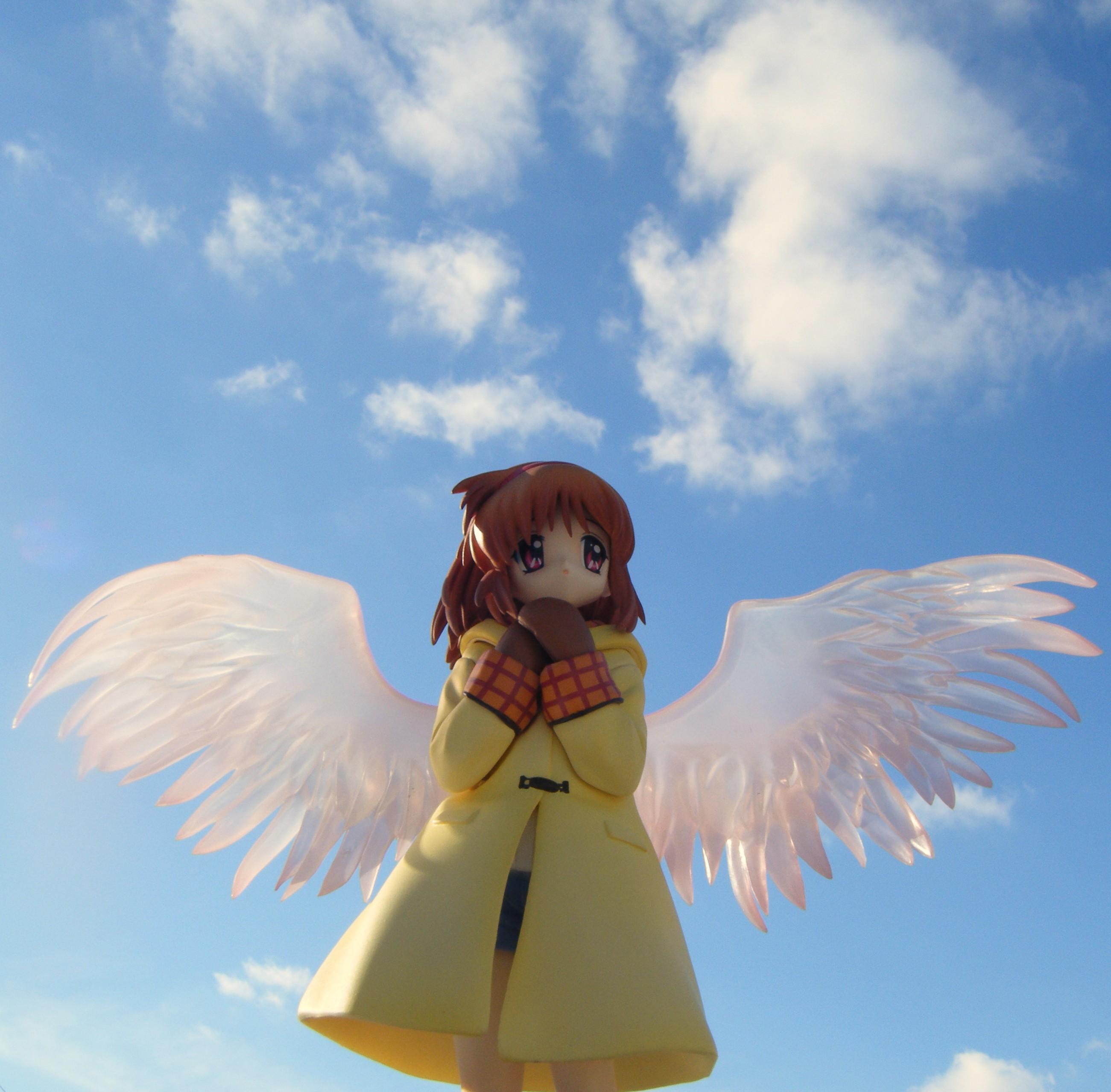 wings angel clouds sky