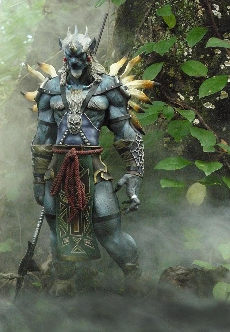 lion spear final_fantasy horn loincloth final_final_x