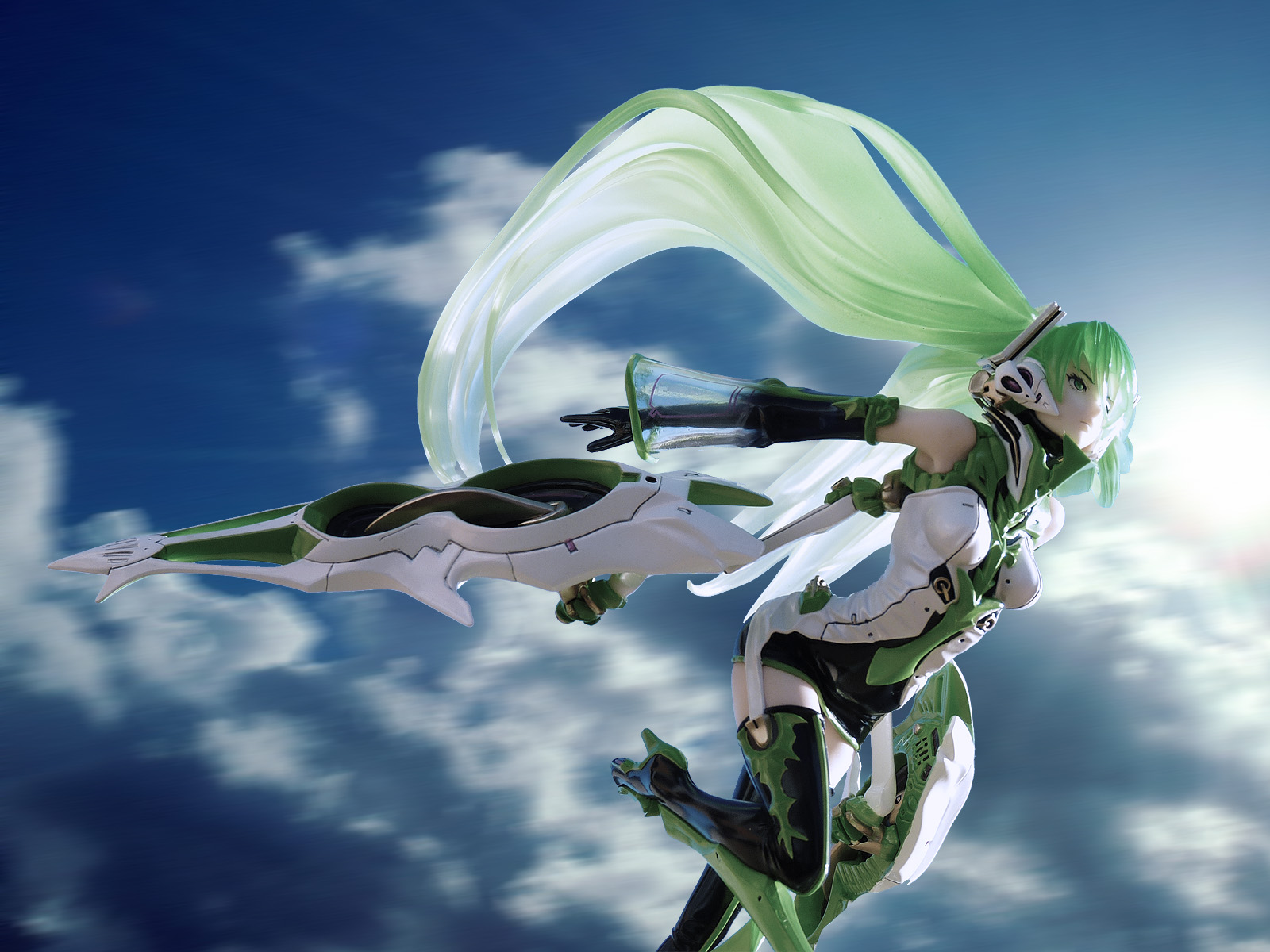 green_hair vocaloid twintails headphones female green_eyes sky