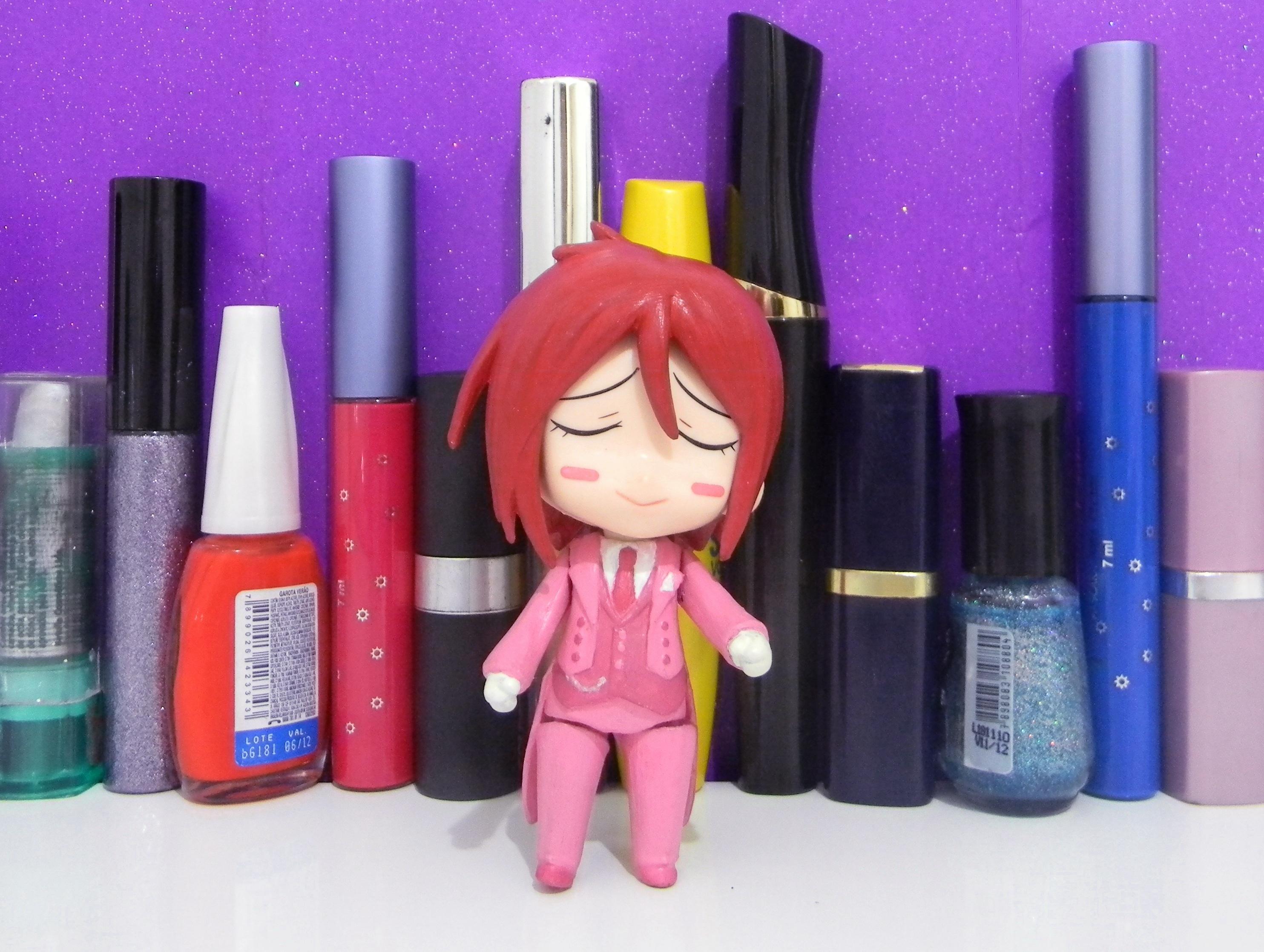 butler pink lipstick nendoroid red_hair kawaii custom nail_polish girls good_smile_company kuroshitsuji eyelashes bishounen tuxedo sebastian_michaelis nendoron maruhige
