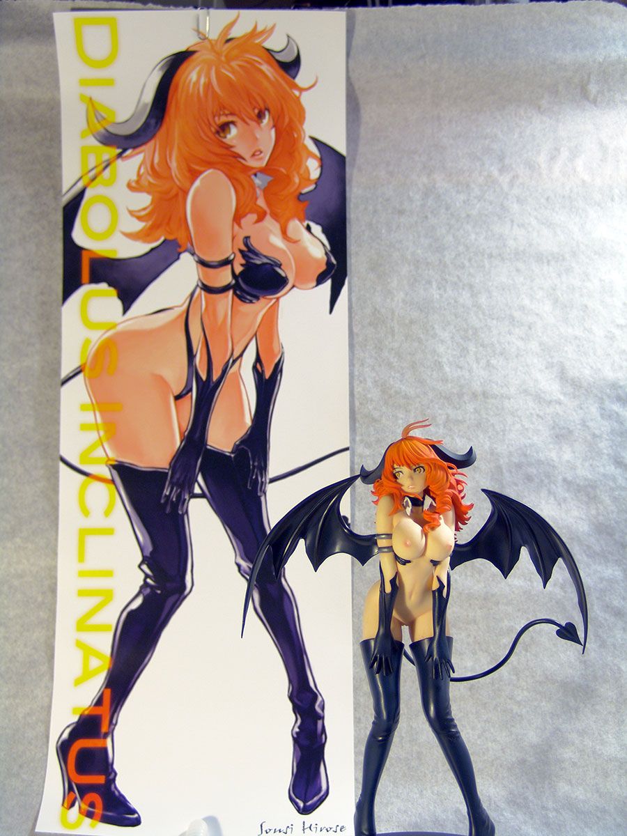 succubus demon redhead devil_tail exposed_breasts sexy_pose female thighhigh_boots demon_wings no_panties half_naked poster diabolus_inclinatus demon_squeezer embrace_japan