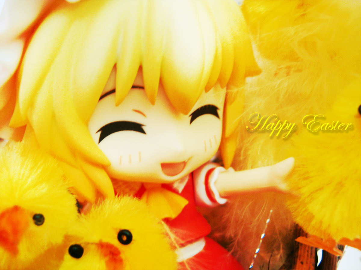 blond_hair red_eyes wings red_dress happy yellow touhou_project nendoroid good_smile_company project scarlet flandre chickens flandre_scarlet michiko yellow_scarf happy_easter nendoron team_shanghai_alice jun_(e.v.)