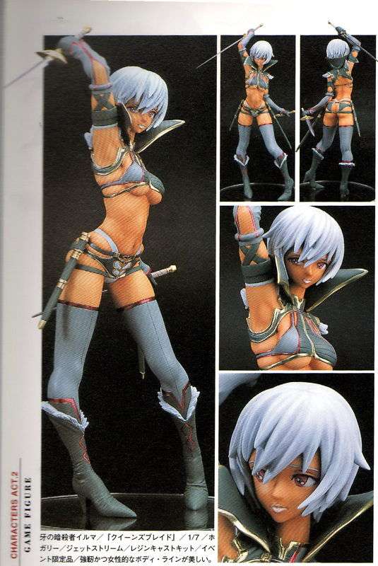white_hair dagger orange_eyes high_heels sheath thighhighs dark_skin rapier midriff weapon lipstick belly_button gloves short_hair boots high_collar g-string buttocks magazine_scan armpit bikini_armor shoulder_blades