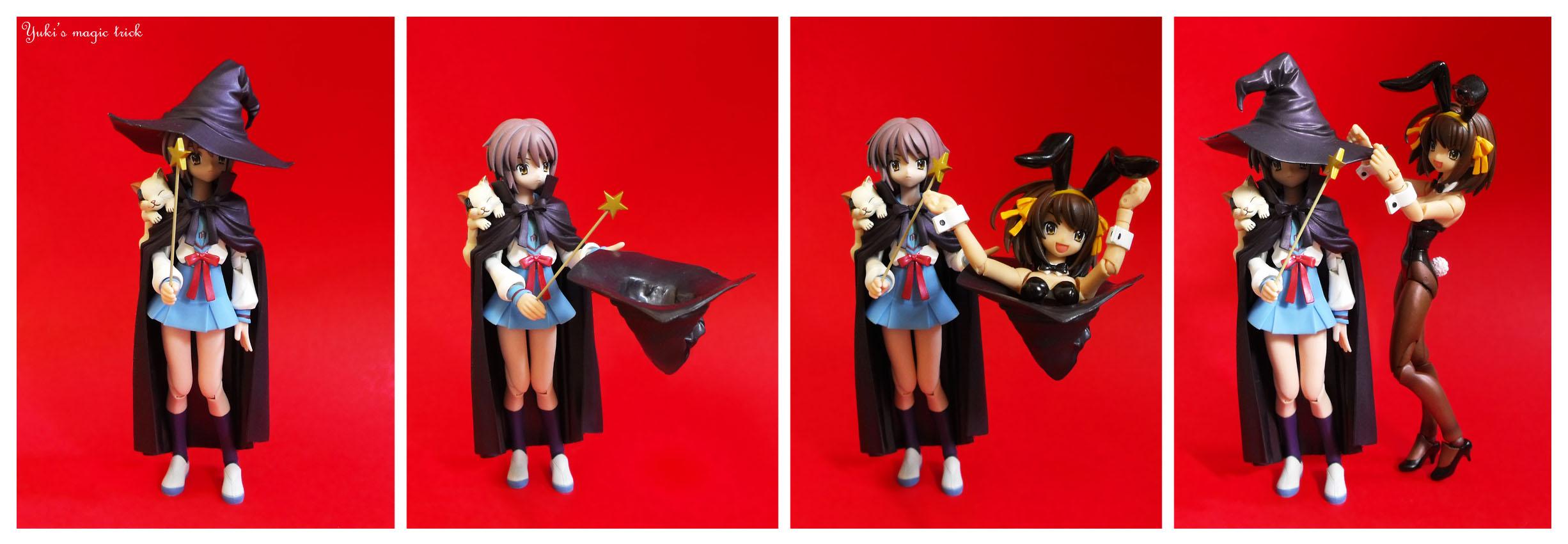 cat cape witch_hat bunnysuit comics suzumiya_haruhi nagato_yuki magic_wand red_background magic_trick