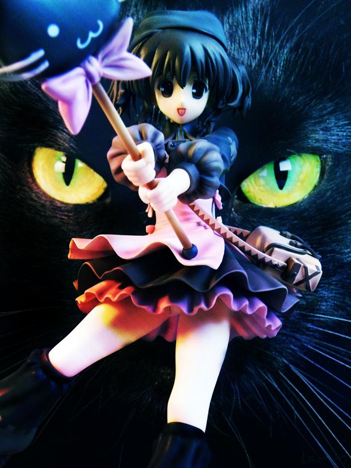 cat skirt ribbon cap knee_socks bag staff fringe apron brown_hair to_heart_2 magic_wand aquaplus final_dragon_chronicle_-guilty_requiem- yuzuhara_konomi plum