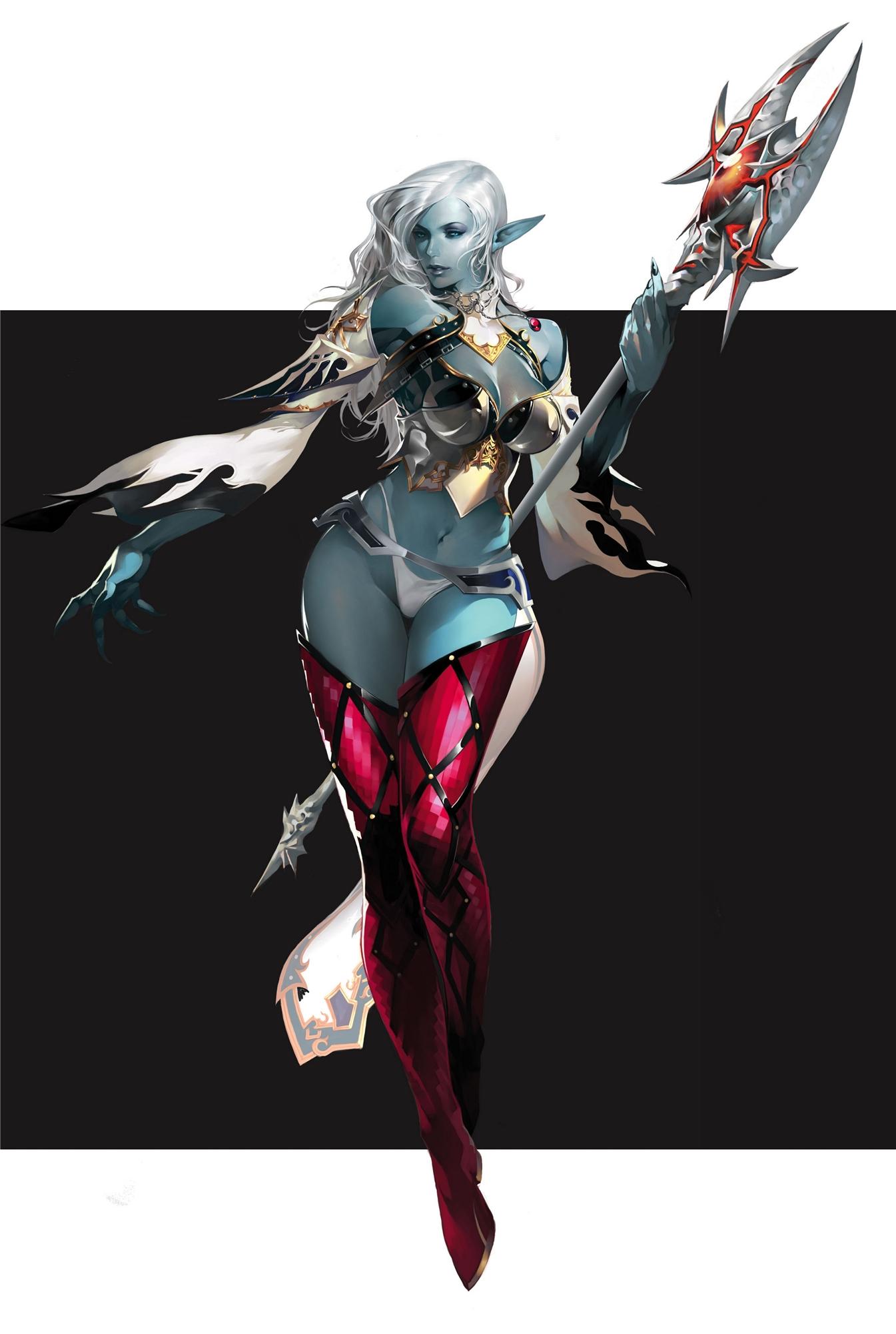 white_hair dark_skin dark_elf max_factory concept_art lineage_ii hashimoto_takahiro ncsoft