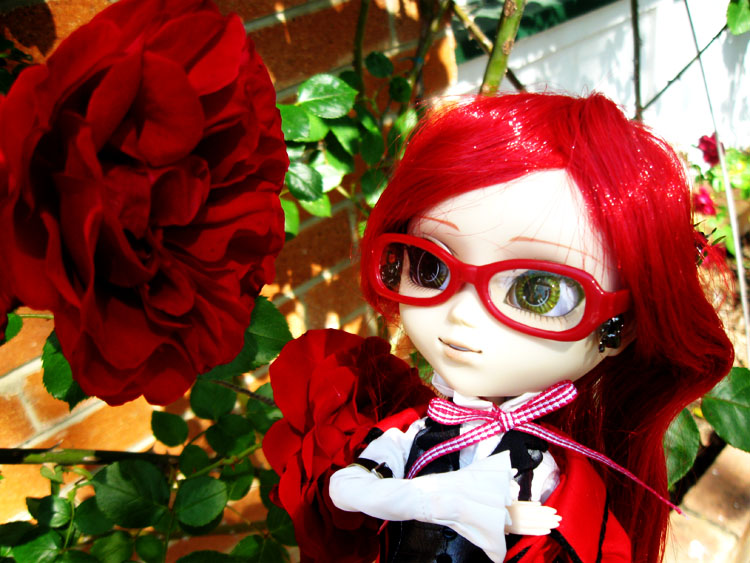 glasses pullip red_dress garden red_coat roses red_hair kuroshitsuji grell pretty grell_sutcliff groove cheonsang_cheonha
