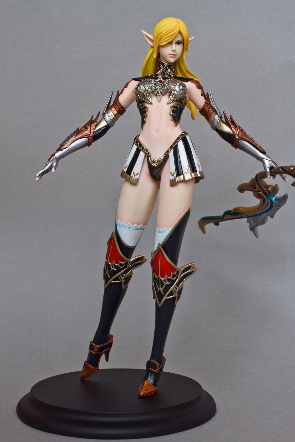 archer blond_hair elf bow armour long_ears lineage_ii ranger cerberus_project female_archer