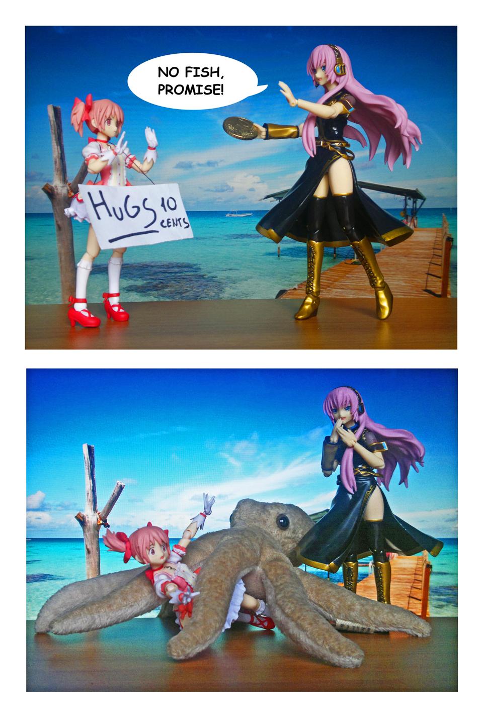 figma vocaloid octopus hug megurine_luka max_factory comic figure_comic kyuubey asai_(apsy)_masaki crypton_future_media mahou_shoujo_madoka★magica kaname_madoka aniplex