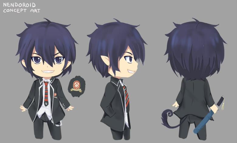 katana school_uniform demon nendoroid blue_hair blue_eyes swordsman okumura_rin