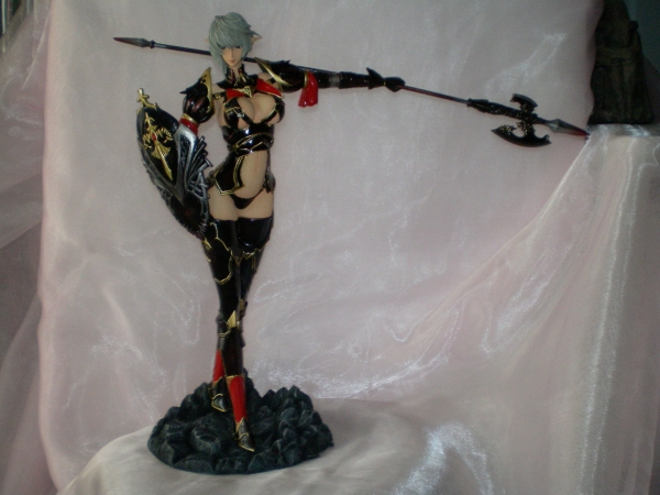 gray_hair shield halberd weapon garage_kit e2046 lineage_ii black_armor ori black_armour