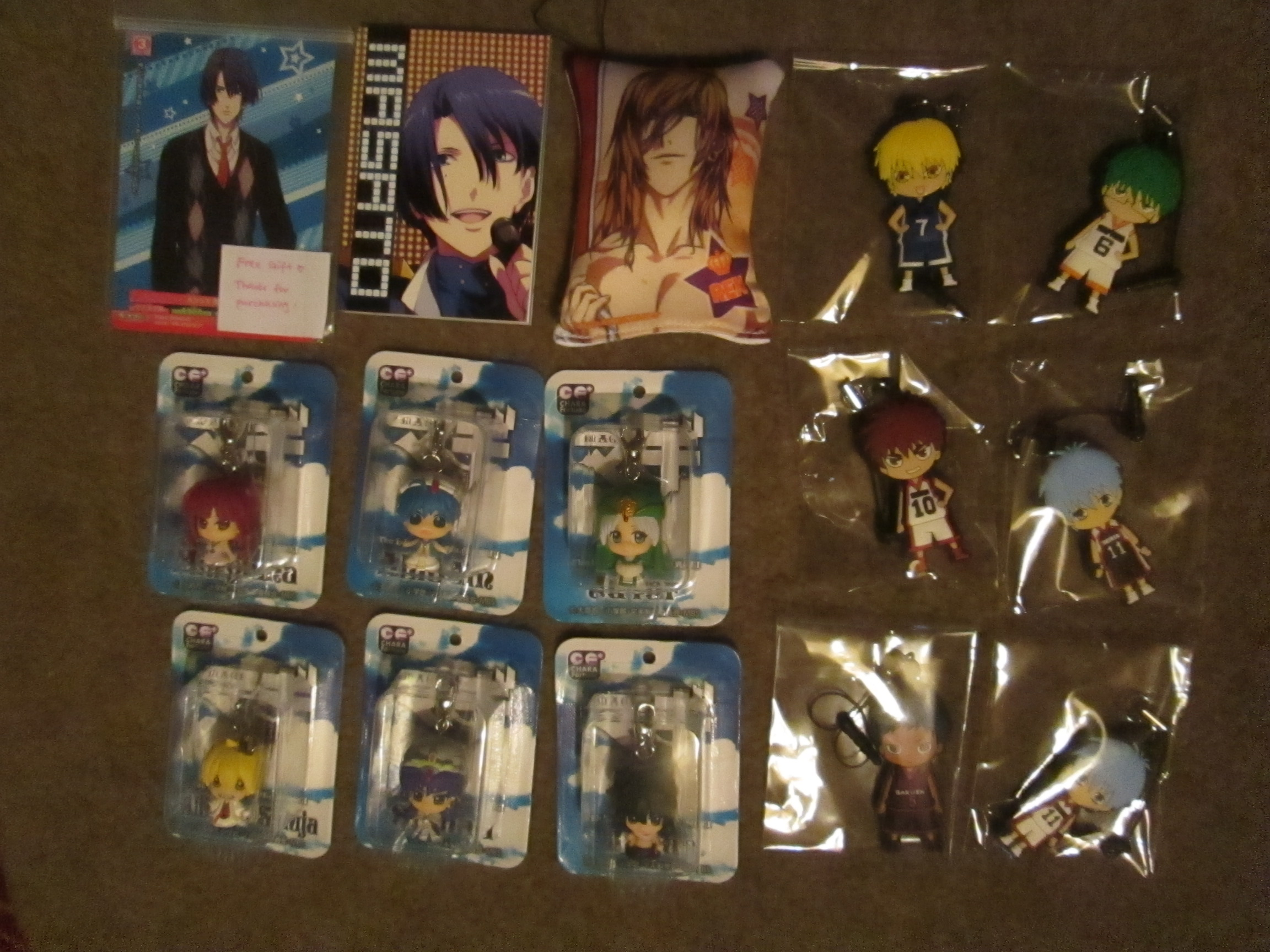 megahouse chara_fortune_plus hasepro aladdin kuroko_no_basket kuroko_tetsuya kagami_taiga midorima_shintarou kise_ryouta magi_-_labyrinth_of_magic judal morgiana alibaba_saluja ja'far sinbad aomine_daiki earphone_jack_accessory chara_fortune_plus_series:_magi_-_aladdin`s_fortune_magic♪