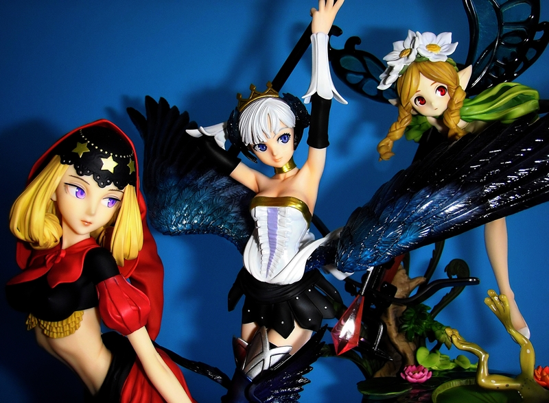 blond_hair red_eyes wings white_hair purple_eyes gray_hair braid fairy yamato white_shoes green_dress black_top black_gloves white_gloves black_skirt white_top red_skirt blue_eyes twin_braids atlus bun red_cape pointed_ears alter gwendolyn mercedes velvet odin_sphere fukumoto_noritaka bubba inagaki_hiroshi sif_ex blue_wings butterfly_wings vanillaware george_kamitani golden_necklace armor_parts