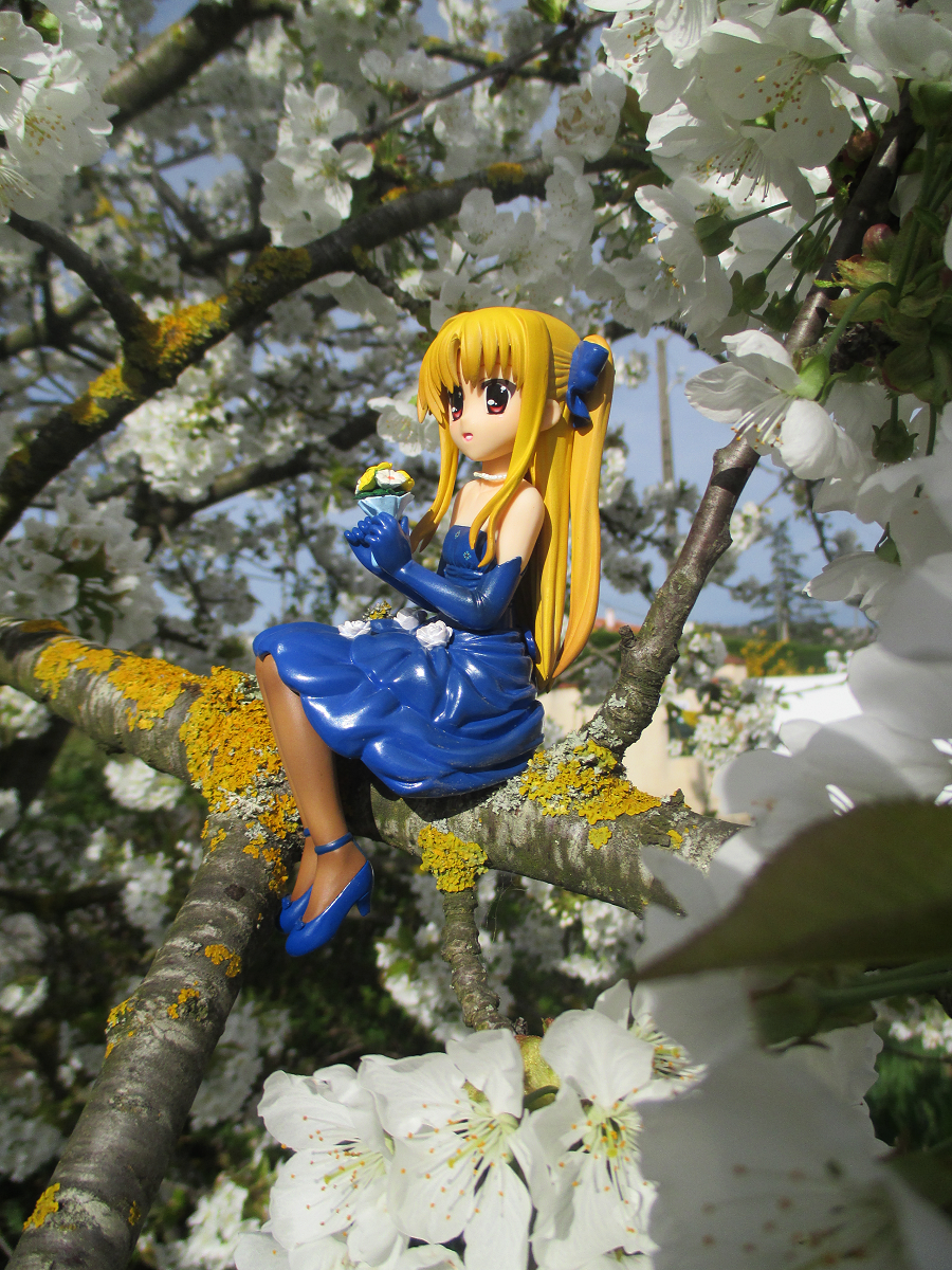 blond_hair twintails red_eyes dress sitting necklace high_heels flowers kotobukiya elbow_gloves tights blue_dress bouquet blue_gloves sitting_pose long_hair female gloves fate_testarossa cherry_blossoms mahou_shoujo_lyrical_nanoha_the_movie_1st murakami_haruhi long_twintails tree_branch brown_tights hair_ribbon pearl_necklace blue_high_heels fullface