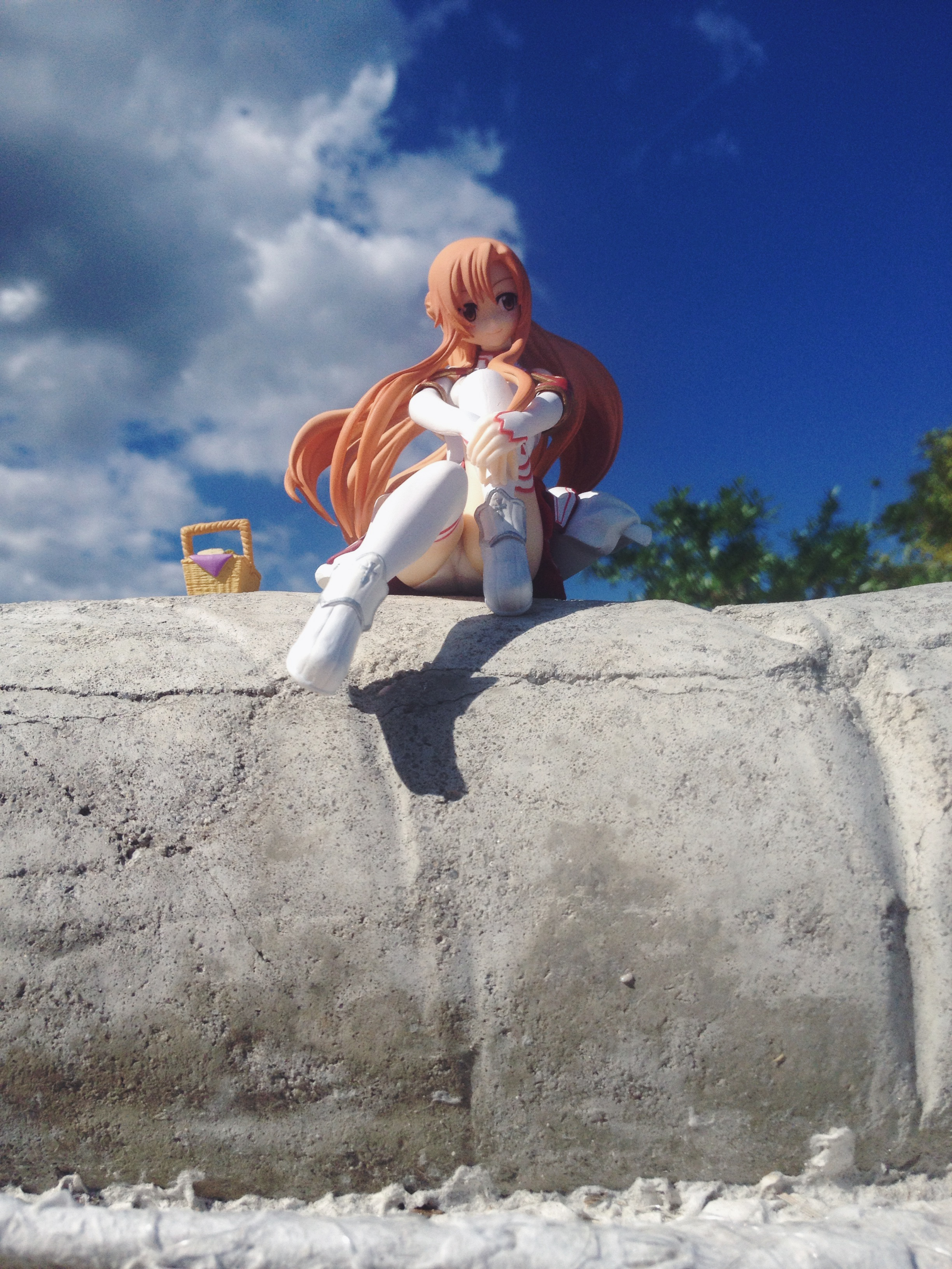 prize orange_hair panties white_panties furyu_prize outdoors prize_figure asuna furyu sword_art_online yuuki_asuna