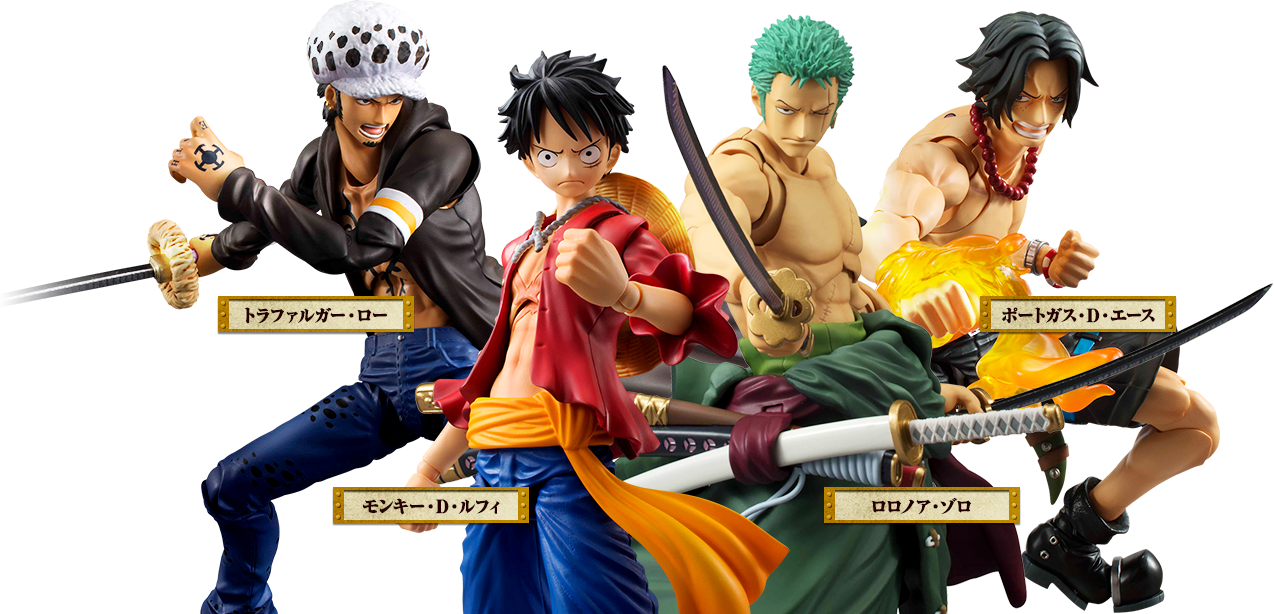 megahouse one_piece monkey_d._luffy portgas_d._ace roronoa_zoro shueisha trafalgar_law oda_eiichiro toei_animation inc. fuji_television_network variable_action_heroes