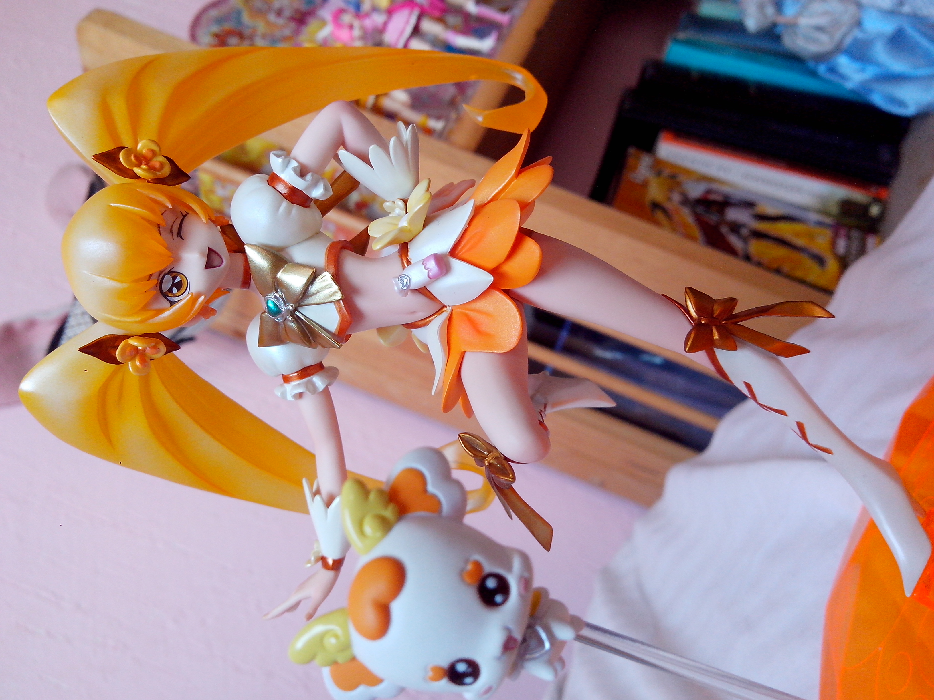 blond_hair twintails magical_girl wink yellow_eyes white_dress pet flowers megahouse yellow boots white_boots excellent_model yellow_clothes precure dynamic_pose attm heartcatch_precure! cure_sunshine potpourri