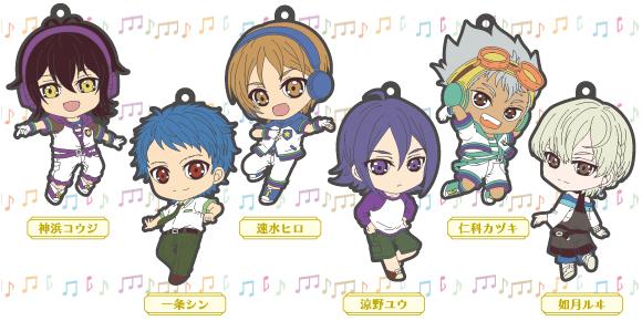 strap freeing rubber_strap earphone_jack_accessory nishina_kazuki hayami_hiro mihama_kouji king_of_prism ichijou_shin suzuno_yuu kisaragi_louis king_of_prism_trading_rubber_strap