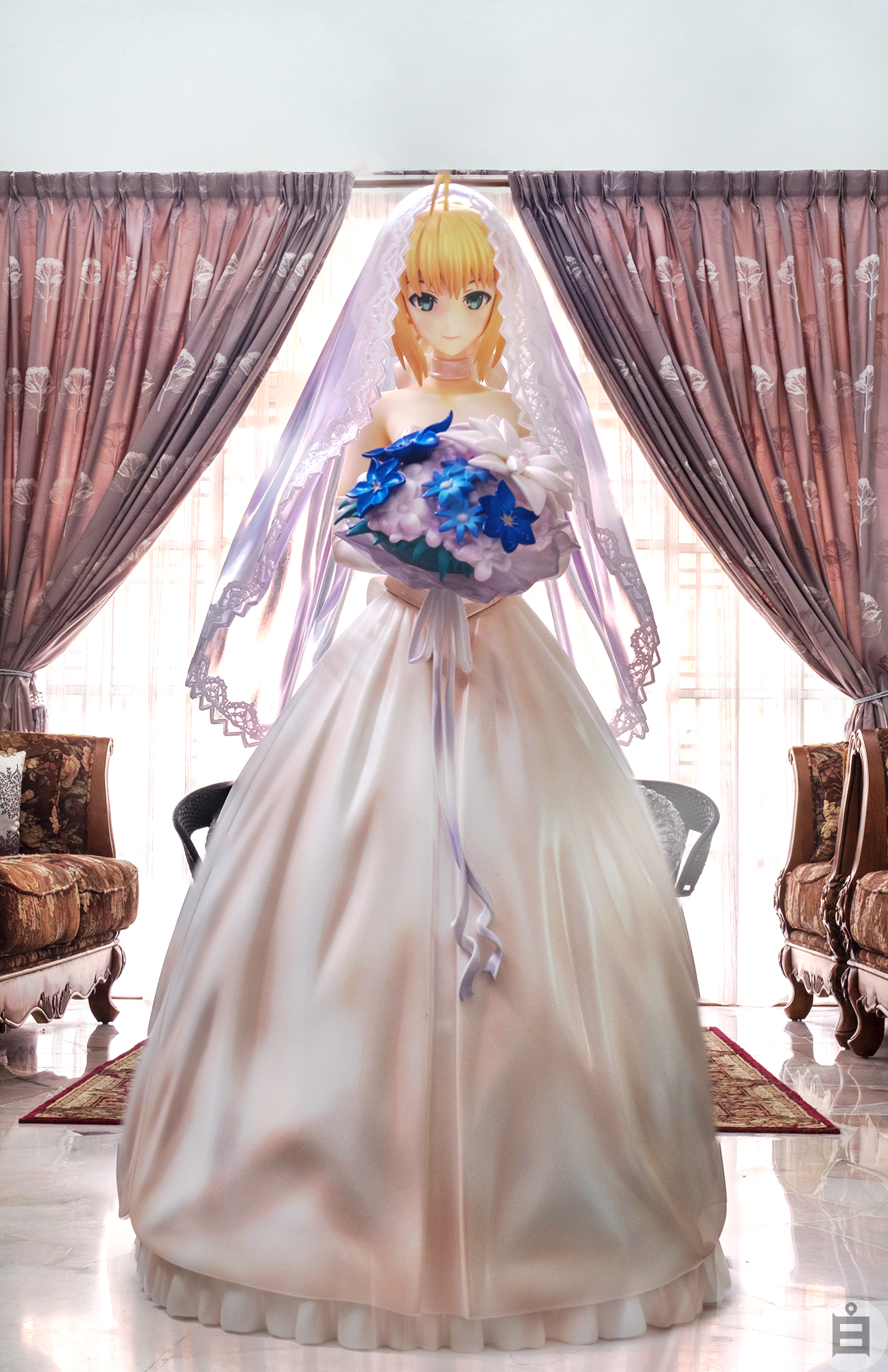 ahoge blond_hair dress bow bride choker bouquet saber type_moon fate/stay_night shiro 1/7 based_on_artwork braided_hair hiroshi_(sakurazensen) aniplex ufotable bare_shoulders type_moon_-10th_anniversary- stronger c87 fate/s