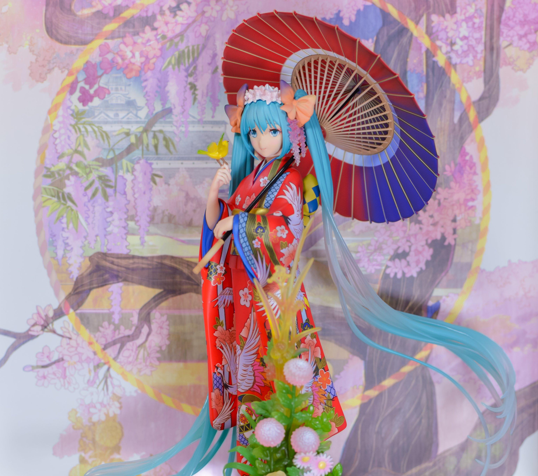 vocaloid twintails umbrella kimono japanese_clothes hatsune_miku crypton_future_media fuzichoco stronger icrea