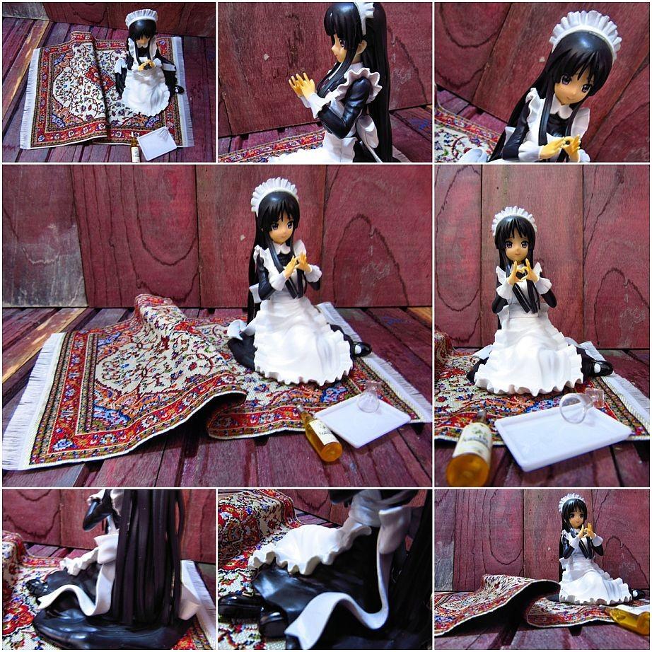 maid sitting black_dress sitting_pose k-on! banpresto akiyama_mio sitting_on_floor white_apron