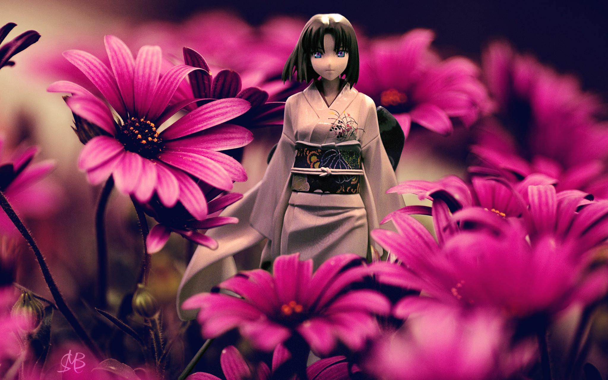 kimono flowers japanese_clothes female sword type_moon ryougi_shiki good_smile_company kara_no_kyoukai nendoron nanashi aniplex ufotable nasu_kinoko female_figure