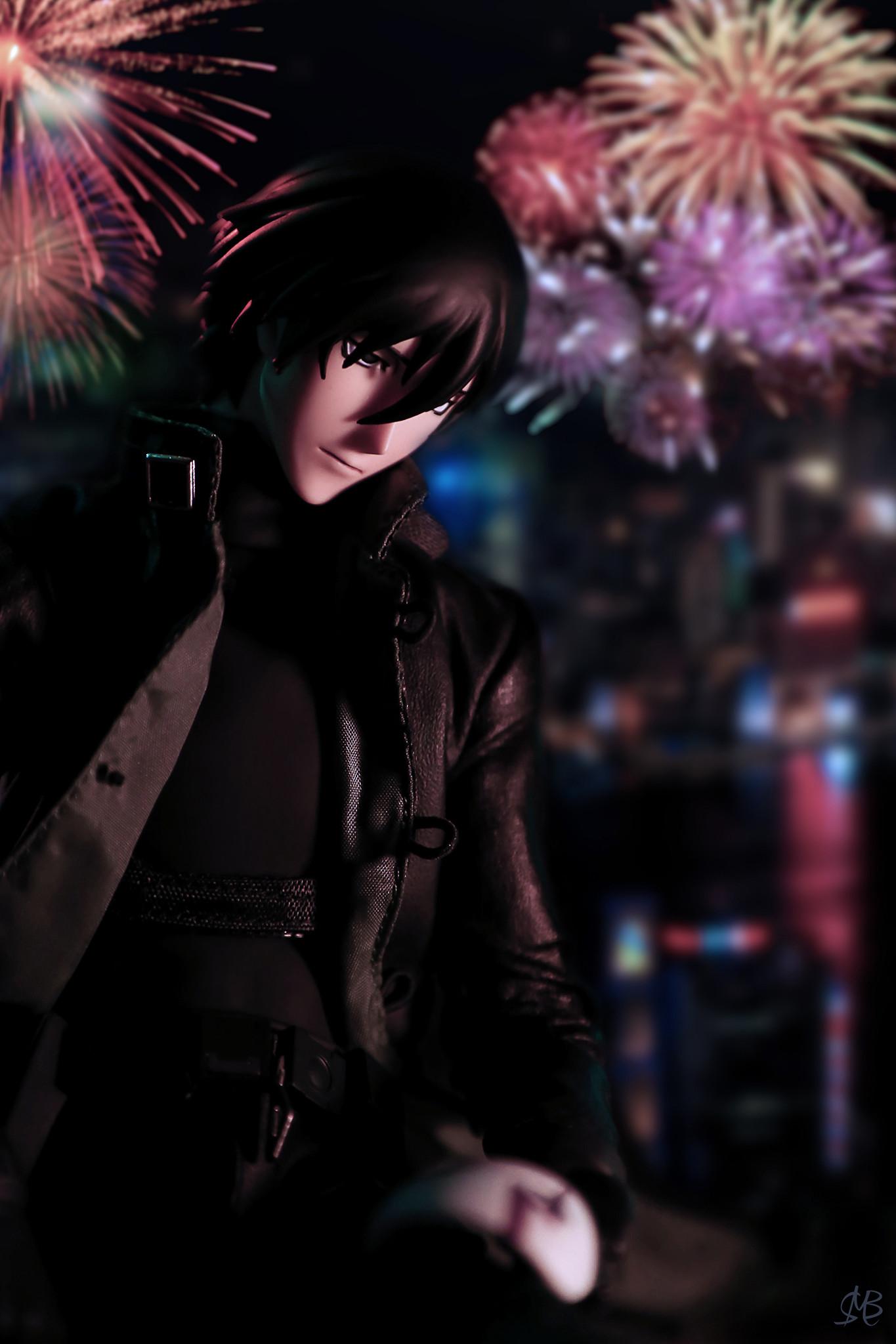 mask overcoat black_coat male long_coat new_year male_figure medicom_toy action_figure real_action_heroes firework darker_than_black:_kuro_no_keiyakusha hei
